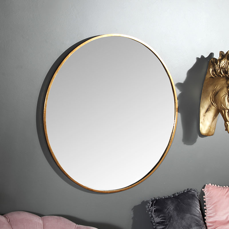 Large Round Gold Framed Wall Mirror 80cm X 80cm Flora